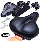 ProVelo Most Comfortable Bike Seat for Men Women - Rechargeable Taillight - Wide Soft Padded Bicycle Saddle - Comfort Memory Foam Cushion - Black Leather - Protection Cover and Triangle Frame Bag