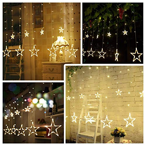 51Sd PEKm6L - Home Solution's -Star Light Curtain Decorations (12 Star,138 LED,8 Flashing Modes in Warm White Color)