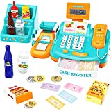 WloveTravel Toy Cash Register for Kids, Kids Smart Cash Register Toy,Pretend Play Educational Toy Cash Register with Calculator,Scale,Goods Shelf,Credit Card, Play Money & Grocery Toy for Kids