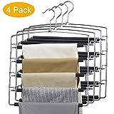 HOUSE DAY Pant Hangers Pants Slack Hangers Multi Pants Hangers -4 Pack - Pant Hangers Space Saving Scarf Hanger Trousers Hanger Metalic Clothes Hangers for Pants