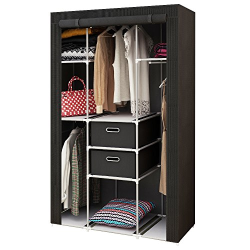 HOME BI Portable Wardrobe Closet, Non-Woven Fabric Clothes Closet Storage for Clothes with 2 Drawers, Large Storage Space, Easy to Assemble, 41.34' L x 17.72' W x 62.2' H (Black)
