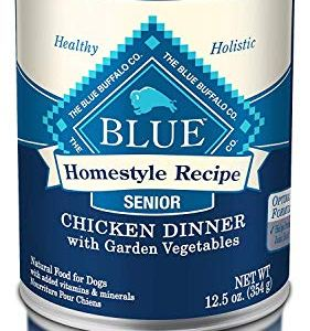 Blue Buffalo Homestyle Recipe Natural Senior Wet Dog Food, Chicken 12.5-Oz Can (Pack of 12) 12