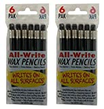 All-Write Wax Pencils Mechanical Twist Top Retractable Grease Markers China Marking Pen, Black, 12-Count