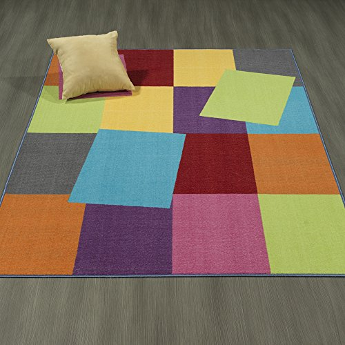 Ottomanson Rainbow Collection Non Slip Kids Rug Modern