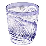 Edo Kiriko Crystal Double Old Fashioned Glass, 8.4oz Cut Glass Hisho Skyward - Violet [Japanese Crafts Sakura]