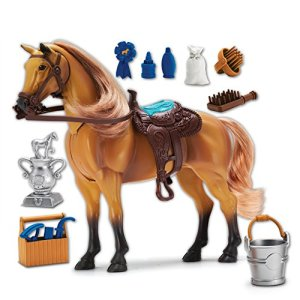 Sunny Days Entertainment Quarter Horse with Moveable Head, Realistic Sound and 14 Grooming Accessories – Blue Ribbon…