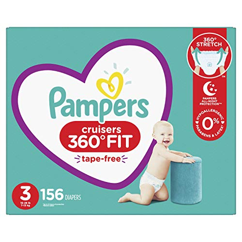 Diapers Size 3, 156 Count – Pampers Pull On Cruisers 360° Fit Disposable Baby Diapers with Stretchy Waistband, ONE MONTH