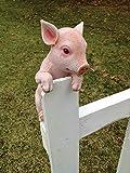 Hang on Piglet 13 Inch Hanger Resin Outdoor Fence Figurine