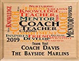Personalized Coach Gift Plaque Coach's Solid Wood Coaches from Team Gifts Made in USA