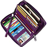 Lavemi Women's RFID Blocking Real Leather Zip Around Wallet Clutch Large Travel Purse Wristlet(Large Size Purple)