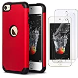 IDWELL iPod Touch Case with 2 Screen Protector, Slim Fit [ Dual Layer Series ] Soft Silicone Hard Back Cover Bumper Protective Shock-Absorption Case for Apple iPod Touch 5/6/7th Gen, Red
