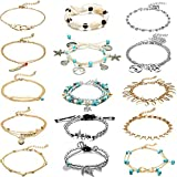 15 Pieces Ankle Chains Bracelets Adjustable Beach Anklet Foot Jewelry Set Anklets for Women Girls Barefoot (Multicolor 4)