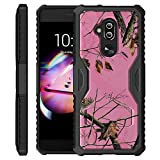 UNTOUCHBLE Case Compatible with [Alcatel 7 from MetroPCS, Alcatel 7 Folio Kickstand Case ] Dual Layer Case Built in Kickstand Shockproof Corners Heavy Duty - Pink Tree Camo