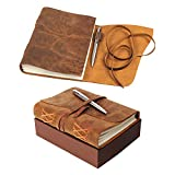 LEATHER JOURNAL Gift Set Handmade - Ideal Present with Secret Pen Holder and Premium Metallic Pen - Writing Notebook 8 x 6 Inches Blank Paper, Rustic A5 Leather-Bound Daily Notepad For Men and Women