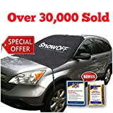 SnowOFF Car Windshield Snow Ice Cover - Sun Shade Protector - WINDPROOF Straps, Wings, Suction Cups, Magnets - BONUS Demist Cloth + Blanket - Winter Ice Rain Frost Automotive Hood Covers - Fits Cars