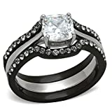 Black Stainless Steel Wedding Ring Set Cushion Cut Cubic Zirconia Women size 7