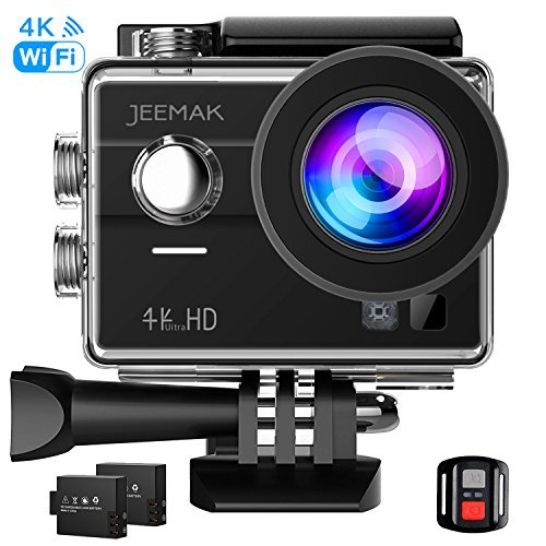 JEEMAK 4K Touch Screen Action Camera 16MP Waterproof Sports Cam 170° Ultra Wide Angle Len with SONY Sensor WiFi Remote Control 2 Pcs Rechargeable Batteries and Accessories Kits Compatible go pro