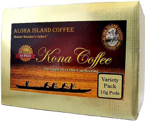 Aloha Island Coffee KONA-POD, Variety Pack of our Premium Line Kona Magnum Opus, 100% Pure Kona Coffee (10g), 18-Count Coffee Pods