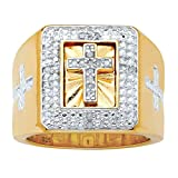 Men's 14K Yellow Gold over Sterling Silver 1/10 cttw Round Diamond Accent Halo Cross Ring Size 9