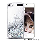 Maxdara iPod 5 Case, iPod 6 Case, Glitter Liquid Floating Bling Sparkle Quicksand Case for Girls Children for Apple iPod Touch 5th/6th Generation (Silver)