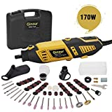 Ginour Rotary Tool Kit 1.5AMP 6+Max Variable, 4 Attachments and 105 pcs Accessories with Flex Shaftfor Home Tasks and Crafting Projects