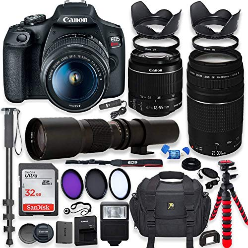 Canon EOS Rebel T7 DSLR Camera with 18-55mm is II Lens Bundle + Canon EF 75-300mm f/4-5.6 III Lens and 500mm Preset Lens + 32GB Memory + Filters + Monopod + Spider Flex Tripod + Professional Bundle