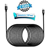 Phone Charger Cord 5M/16FT Extra Long Nylon Braided USB Charging & Syncing Cable High Speed 2.4A Fast Charger Powerline Cable Compatible Phone X 8 8 Plus 7 7Plus 6s 6sPlus 6 6Plus 5 5s 5c SE Pad Pod.