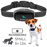 Barklo Small Dog Bark Collar for Small to Medium Dogs Rechargeable and Weatherproof Vibrating Anti Bark Training Device - Smallest & Most Safe On Amazon - No Shock No Spiky Prongs! (6+ lbs)