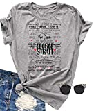 Womens George Strait Songs T-Shirt Fun Letter Graphic Tees Tops Casual Short Sleeve Tunic Summer Blouse T Shirts (X-Large, Grey)