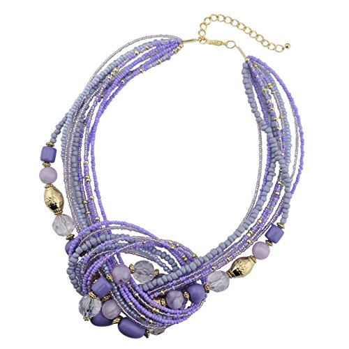 Bocar Lilac Seed Beads Multilayer Statement Collar Necklace (NK-10345-lilac)