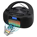 Magnavox MD6972 CD Boombox with Digital AM FM Radio Color Changing Lights and Bluetooth Wireless Technology