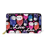 Bright Owl In Love Decor Leather Zipper Wallet For Woman Simple Wallet Durable And Beautiful