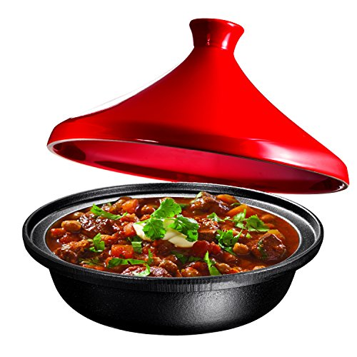Cast-Iron-Moroccan-Tagine-Pot-Enameled-Fire-Red-4-Quart-By-Bruntmor
