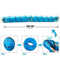 Topmart-Dog-Playing-Tunnel-165ft-Agility-Pet-Training-Tunnel-Tube-with-2-Frisbees-and-Carry-Bag-for-Cats-Dogs-Outdoor-Training