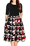 Nemidor Women's Floral Print Vintage Style Plus Size Swing Casual Dress (22, Black+Red)