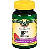 Spring Valley B12 5000 mcg 45 tablets, Mixed Berry Flavor