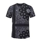 Camicia da Uomo a compressione Totem geometrico in Stile nazionale con cerniera Manica Corta Stampa Floreale Digitale 3D, M