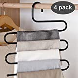DS Pants Hanger Multi-layer S-style Jeans Trouser Hanger Closet Organize Storage Stainless Steel Rack Space Saver for Tie Scarf Shock Jeans Towel Clothes(4 Pack )