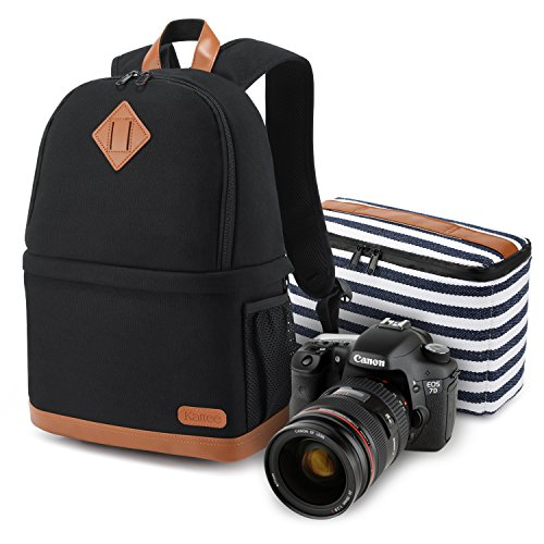 Kattee Professional Canvas SLR DSLR Camera Case Backpack Laptop Bag