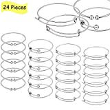 24 PCS Expandable Bangle Bracelet,Kissbuty Adjustable Wire Blank Bracelet Jewelry Findings for Women, DIY Jewelry Making Charms Bracelets (Assorted Styles Silver, White K)