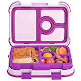 Leakproof Kids Lunch Box | 4-Compartment Bento Box for Kids | BPA-Free | School Lunch Container for Boys Girls | Children Travel On-the-Go Meal and Snack Packing Containers | Purple