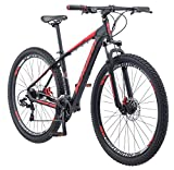 Schwinn Bonafide Mountain Bike with Front Suspension, Featuring 17-Inch/Medium Aluminum Frame and 24-Speed Shimano Drivetrain with 29-Inch Wheels and Mechanical Disc Brakes, Matte Black/Red