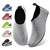 Water Shoes for Womens Mens Barefoot Quick-Dry Aqua Socks for Beach Swim Surf Yoga Exercise New Translucent Color Soles (Grid-Black, 42/43)