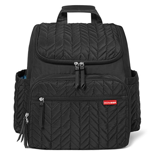 Skip Hop Diaper Bag Backpack Forma, Multi-Function Baby Travel Bag with Changing Pad, Jet Black