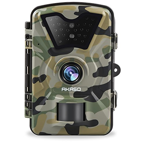 AKASO Game Trail Camera 1080P HD 12 MP with Infrared Night Vision Hunting Camera IP66 Waterproof 2.4 inch LCD for Wildlife Monitoring