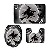 HUGS IDEA Halloween Decor Bath Rug Set Non-Slip Absorbent Bathroom Mat Contour Rug Toilet Lid Cover Flying Witch Pattern