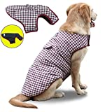 Bonaweite Pet Dog Clothes, Waterproof Windproof Winter Warm Reversible Vest Jacket Apparel with Classic Style Plaid for Cold Weather Small Medium Large Dogs