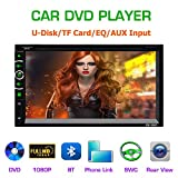 LSLYA(TM 6.95' Double DIN Steering Wheel Control Car Stereo DVD Car Radio Bluetooth Player Multimedia Radio Entertainment Support USB/TF FM Aux Input TV with HD Rear View Camera (6063B)