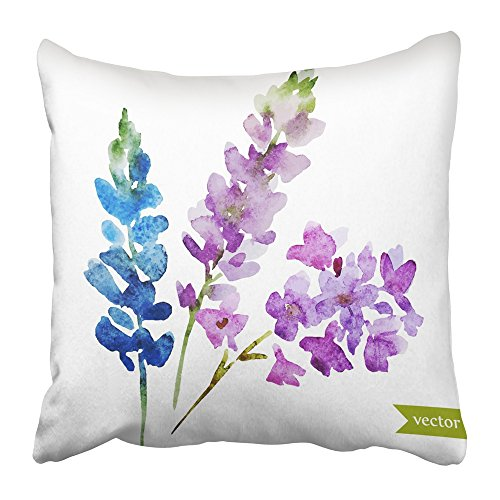 Emvency Pillow Covers Print Purple Drawing Watercolor Abstract Lilac Flowers Bouquet Object Blue Beautiful Beauty Blossom Color Polyester Zippered 16x16 Square Pillow Case For Home Bed Couch Sofa