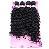 FRELYN Deep Wave Curly Synthetic Hair Weave Extensions 4 Bundles Black Color High Temperature Heat Resistant Fiber(16' 18' 18' 20')